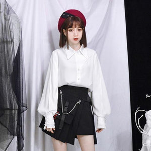 Women High Waist Shorts Skirts with Pocket Girl Vintage Plaid Irregular Pleated Fashion Mini Skirt - moonaro