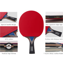 Load image into Gallery viewer, 7 Star Professional Table Tennis Racket Carbon Tube Tech PingPong Bat Competition Ping Pong Paddle for Fast Attack and Arc