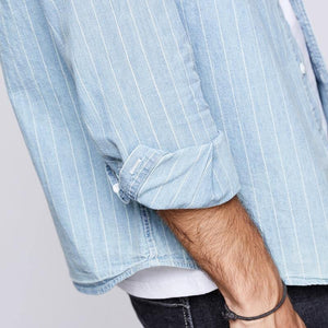 Autumn 100% Cotton Stripe Blue Shirt Men Dress Button Casual Slim Fit Long Sleeve For Male Fashion Brand Blouse
