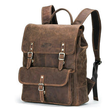 Load image into Gallery viewer, Business Backpacks Crazy Horse Leather Backpack for 13.3 inch Laptop Vintage Men Travel Bags Quality Male Mochilas