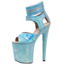 Load image into Gallery viewer, 20cm high heel Snake pattern Ankle Strap Sandal Platform Wedding Party High Heels Shoes