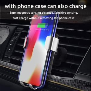 Car Qi Wireless Charger for iPhone XR XS Max 8 Gravity Holder Fast Wireless Charging Air Vent Mount for Car Phone Charger