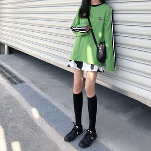 Black White High Waist Fashion Casual Loose Basic A-line Simple College Wind Mini Women Skirts