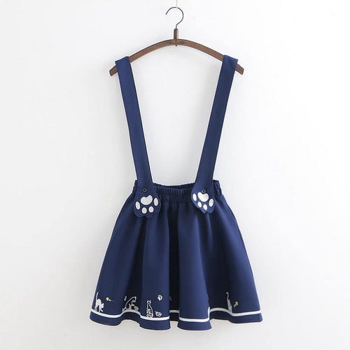 Cute Kawaii Cat Paw Embroidery Short Jumper Skirt Young Girl Women's Suspenders Lovely Skirts
