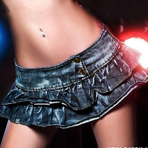 sexy denim skirt women's short mini skirt bar club wear poling dance skirt