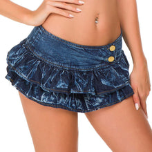 Load image into Gallery viewer, sexy denim skirt women's short mini skirt bar club wear poling dance skirt