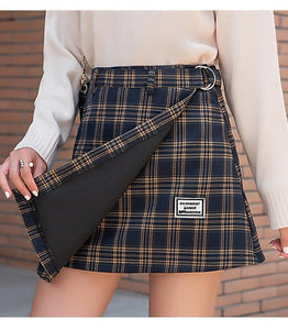 High Waist Mini Skirt Women 3 Colors Woolen Plaid Skirts With Belt High Quality