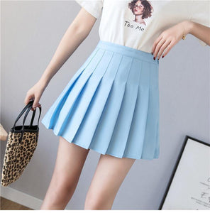 High Waist A Line Pleated Mini Skirt For Women Spring Summer Skirts Pink Black Sky Blue And White Cute Skirt High Quality