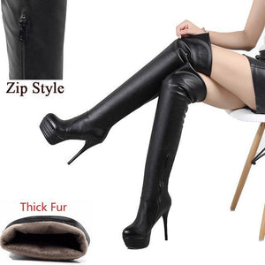 Lady Sexy Over Knee Thigh High Boots Women Fashion Thin High Heels Platform Women Shoes Woman Thick Fur Boots - moonaro