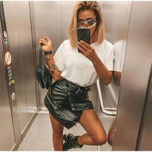 Load image into Gallery viewer, Faux Leather Women Mini Skirt Black PU Belt Zipper Short High Waist Skirts Fashion Ladies Clothes