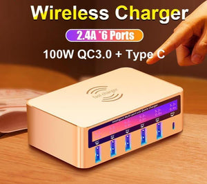 100W Wireless PD Type C QC3.0 USB Charger LED Display Fast Dock Station Travel Quick Charge 3.0 QC 4.0 For iPhone 11 Pro