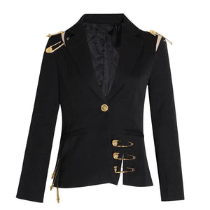 Women's Hollow Out Patchwork Lace Up Blazer Notched Long Sleeve Slim Elegant Fashion Coat Blazer