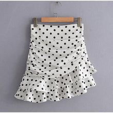 Load image into Gallery viewer, Women Mini Skirt Polka Dot White Short High Waist A Line Female Skirts Folds Ruffles Ladies Clothes - moonaro