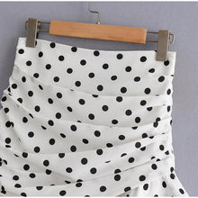 Load image into Gallery viewer, Women Mini Skirt Polka Dot White Short High Waist A Line Female Skirts Folds Ruffles Ladies Clothes