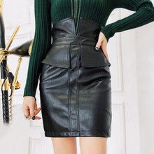 Load image into Gallery viewer, Women PU Leather Skirt High Waist Pencil Patchwork Female Skirts Winter Fashion Package Mini Skirt