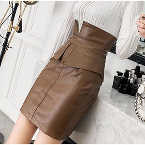 Women PU Leather Skirt High Waist Pencil Patchwork Female Skirts Winter Fashion Package Mini Skirt
