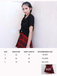 Casual Style Party Pleated Skirt Summer New High Waist Slim A Word Skirt Girl Red Plaid Skirt