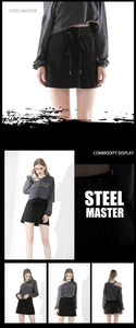 Dark Skirt Skirt Bow High Waist Black A Word Short Skirt Ladies Slim Skirt Punk Style