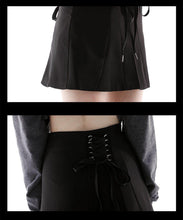 Load image into Gallery viewer, Dark Skirt Skirt Bow High Waist Black A Word Short Skirt Ladies Slim Skirt Punk Style