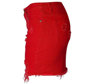 Women's High Waist Bag Hip Denim Skirt Short Red Big Irregular Hole New Punk Ladies Casual Bag Hip Skirt