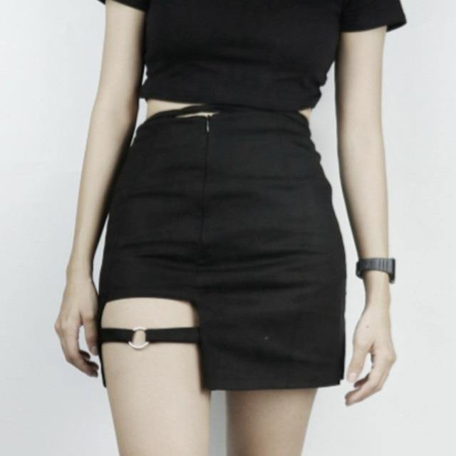 Half-length Skirt Female New Black High Waist Was Thin A Word Bag Hip Skirt