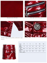 Load image into Gallery viewer, Women Sexy Leather Short Skirt Steampunk Black Red Mini Skirt in Summer Party Skirt