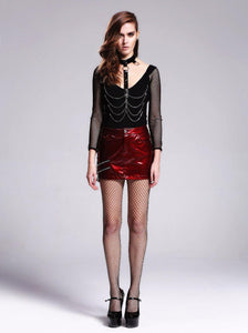 Women Sexy Leather Short Skirt Steampunk Black Red Mini Skirt in Summer Party Skirt