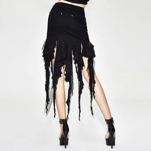 Load image into Gallery viewer, Cotton Tight Skirt Female Cutout Skirt Sexy Black High Waist Bag Hip Skirt Fringed Skirt Gothic Style