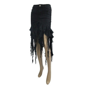 Cotton Tight Skirt Female Cutout Skirt Sexy Black High Waist Bag Hip Skirt Fringed Skirt Gothic Style