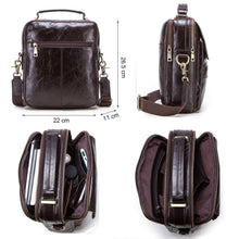 "Load image into Gallery viewer, genuine leather messenger bag for men casual shoulder bags male flap bag luxury brand crossbody bags for 9.7"" Ipad"