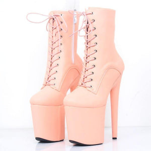 Women 20CM Super High Heel Platform Lace-up Ankle Boots Spike Heels Sexy Women Dance Party Show Shoes - moonaro