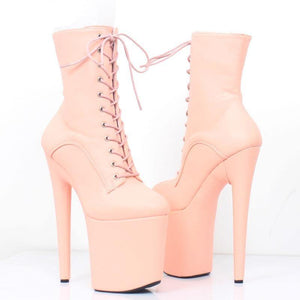 Women 20CM Super High Heel Platform Lace-up Ankle Boots Spike Heels Sexy Women Dance Party Show Shoes