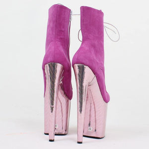 Extreme High Heel Boots Pink Party dancing ankle boots Wedding High Heel Shoes