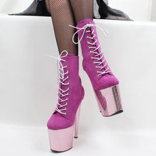 Load image into Gallery viewer, Extreme High Heel Boots Pink Party dancing ankle boots Wedding High Heel Shoes