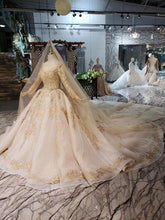 Load image into Gallery viewer, Luxury Wedding Dress with wedding veil backless handmade champagne golden lace bridal dress wedding gown with long train