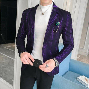 Stripes Men's Blazers and Coat Jackets Tuxedos Business Casual Wedding Coat for Men Slim Brown Purple Jacket