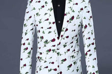 Load image into Gallery viewer, Business Casual suits for men slim fit casual blazer men flower Floral blazer men stage suits with pants - moonaro