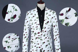 Business Casual suits for men slim fit casual blazer men flower Floral blazer men stage suits with pants - moonaro