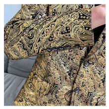 Load image into Gallery viewer, Business Casual Men's Blazer Jacket Fashion Flower Wedding Coat For Men Slim Fit Stage Men's Golden Tuxedos Coat Jacket