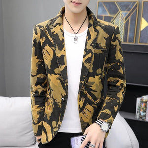 Camouflage Blazer Jackets Wedding Coat for Men Clothes One Button Casual Men Blazer Slim fit New Coat