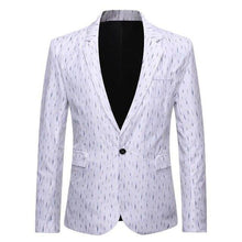 Load image into Gallery viewer, Men's Blazers and Coat Jackets Stripe Design Slim fit Men's Coat Jacket Blazers Fashion Gray White Coat Jacket