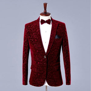 Tuxedos Suits & Blazer men Floral men's blazer jacket 2 pieces Jacket+Pants Wine red flowers wedding suits for men slim fit