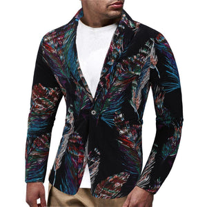 Blazer for Men Fashion Feather pattern Unique design Men Blazer Casual Men Coat Jacket Slim fit Fashion Coat