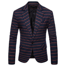 Load image into Gallery viewer, Blazer for Men Casual Striped Single breasted Slim fit Casual Men Coat Jacket Men's Blazer