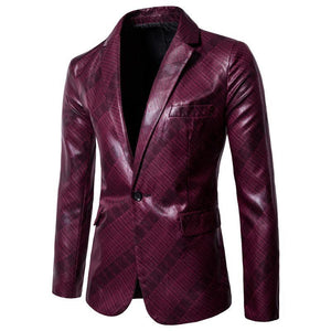 PU Leather Men's Blazers And Coat Jackets Men Blazer Designs Business Casual Red Navy Blue Coat