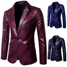 Load image into Gallery viewer, PU Leather Men's Blazers And Coat Jackets Men Blazer Designs Business Casual Red Navy Blue Coat
