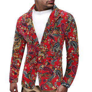 Floral Stage Mens Blazer Jacket Flower Wedding Coat for Men's Fashion Slim fit Coat Jacket