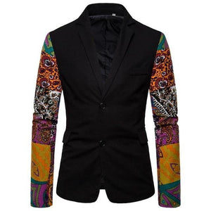 Man Blazer Casual Coat Jacket Stitching Sleeves Men's Blazer Tuxedos Floral Slim fit Men's Coat