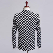 Load image into Gallery viewer, Black white plaid tuxedos blazer men stage Formal Wear blazers Men Coat Jacket for wedding - moonaro