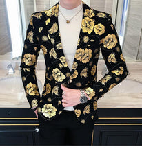 Load image into Gallery viewer, Tuxedos Men's Blazer Jacket Slim Fit Floral Coat Trend Flowers Fashion Men Jacket Silver Gold Colors